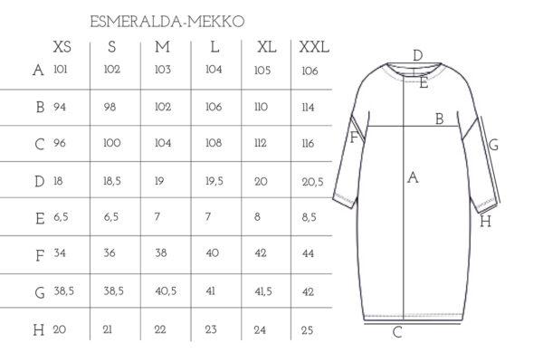 raita-jacquard neulos esmeralda mekko mittataulukko