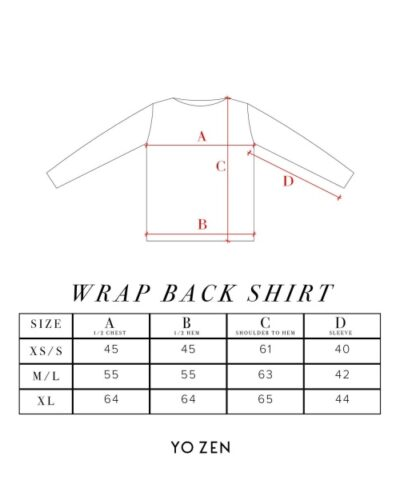 wrap back shirt mittataulukko