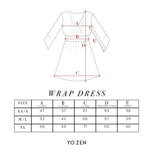 Yo zen wrap dress mittataulukko