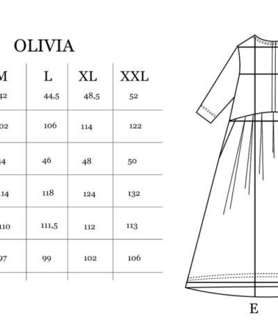 Puuvillatehdas Olivia mekko mittataulukko