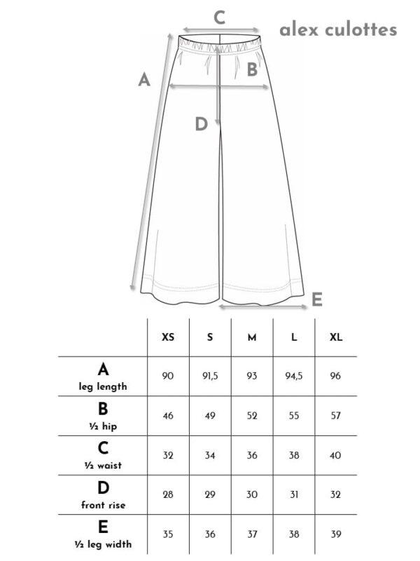 Aarre naisten mukavat culottes housut vastuullisesti valmistettu mittataulukko