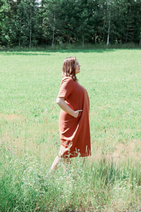 Pellava-puuvilla mekko