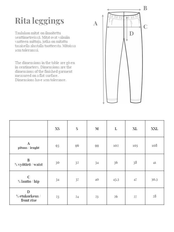 Laadukkaat nilkkapituiset leggingsit